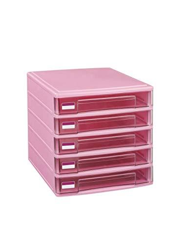 5 lades kunststof ladekast eenheid kantoorbenodigdheden papier sorter kasten opslag manager (grijs, roze) opbergdoos roze