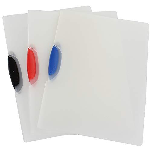 K & G GP02774 klemhechter 3 stuks DIN A4 transparant Colorclip openklapbaar eenvoudig klemmap harde folie nietmachine opslag van documenten documenten