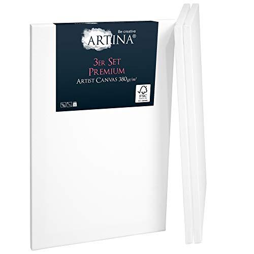 Artina 3er Set FSC® Keilrahmen Premium Leinwand 30x40 cm - 100% Baumwolle Leinwand weiß vorgrundiert - Leinwände Set 380g/m²