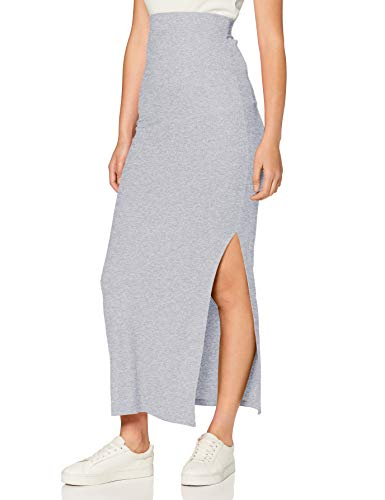 Amazon-Marke: MERAKI Damen Slim Fit Maxi-Rock mit Feinripp, Grau (Grey Marl), 36, Label: S