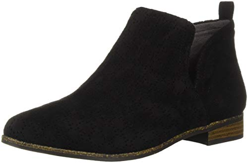 Dr. Scholl's Shoes womens Rate Ankle Boot, Black Perforated Microfiber Suede, 7 US