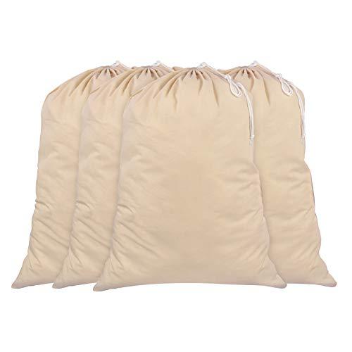 SweetNeedle - Pack de 4 - 100% algodón Bolsas de lavandería extra grandes y deber pesadas en color natural - 71 x 91 CM (28 IN x 36 IN) - Muy duraderas, con cordón, lavables a máquina y reutilizables