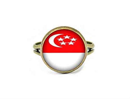 Xubu Nationale Symbool Vlag Sieraden, Singapore Vlag Ringen, Nationale Vlag Ringen