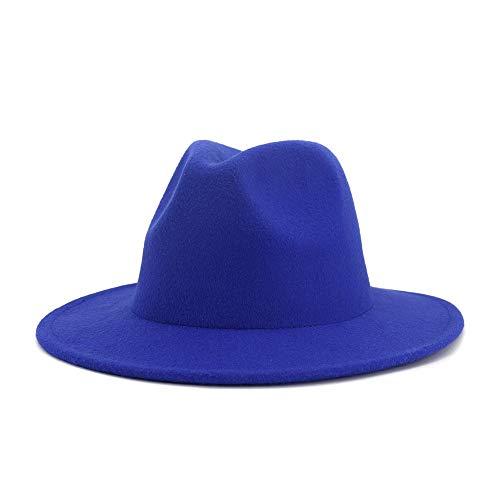 JIANGJINLAN Cotton-Fedora-Hut-Fedora-Hut mit einem einfachen ethnischen Art-Fedora-Hut Unisex Allgemein Herbst-Winter-Jazz Flat Top Hat (Color : 1, Size : 59-60cm)