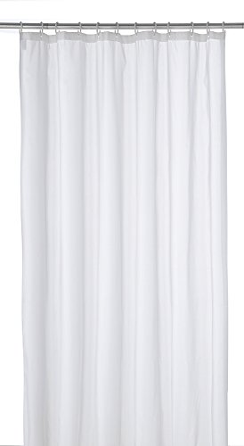 axentia Duschvorhang, Wannenvorhang, Badezimmervorhang inkl. 12 Plastikringe, ca. 180 x 200 cm, uni weiß