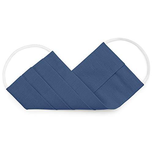 EllaTex 5er Pack Mund-Nasenschutz Masken/Atemschutz Maske Behelfsmaske Baumwolle WASCHBAR WIEDERVERWENDBAR in 10 Farben verfügbar, Farbe:Jeans - 3