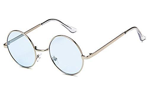 CHICNET Hochwertige Damen Herren Sonnenbrille Rundglas Hippie John-Lennon Brille 400UV rund, runde Gläser, Langer Steg, aus Metall und Acryl, verspiegelt und getönt (blau gelb)