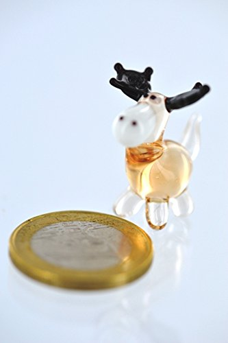 Elch Mini 2 braun - Miniatur Figur aus Glas kleiner brauner Elch stehend - Glastier Glasfigur Setzkasten Vitrine Deko