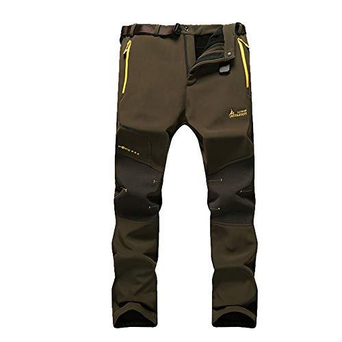 JIANYE Pantalon Softshell Hombre Pantalones de Montaña Impermeable Pantalon Trekking Caliente Pantalones Invierno Ejército Verde L