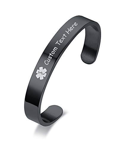 %67 OFF! XUANPAI Black Stainless Steel Stainless Steel Medical Alert Bracelet Cuff Bangle for Women ...