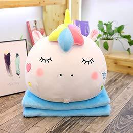 CGDX Peluche Unicorn Head Ball Toy 2-en-1 Unicornio de Peluche Animal Doll Manta Huggable Unicorn Pillow Summer Travelling Plush Bolster 40cm Ojos Cerrados Blanco
