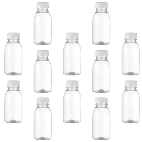 Doitool 12 Piezas 250 Ml Botellas de Agua de Leche Botella de Jugo Transparente Tapa de Manipulación Botella de Agua de Bebida Botellas de Agua de Bricolaje a Granel