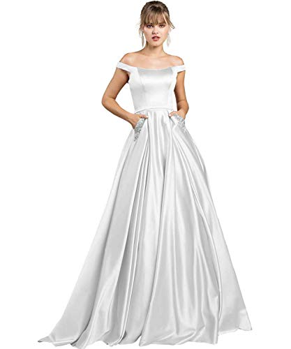 Women's A-line Off The Shoulder Satin Prom Evening Dress Long Beaded Formal Wedding Gown with Pockets Size 8 Ivory