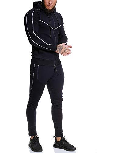 OneRedox | Herren Trainingsanzug | Reflektor Jogginganzug | Sportanzug | Jogging Anzug | Hoodie-Sporthose | Jogging-Anzug | Trainings-Anzug | Jogging-Hose | Modell JG-13106 Navy L