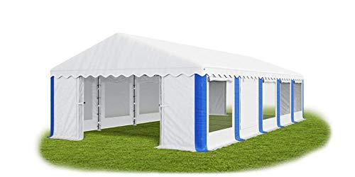 Tienda de campaña para fiestas de la marca Das Company, 5 x 10 m, universal, con mosquitera, impermeable, color blanco y azul, cenador de 240 g/m2 de polietileno