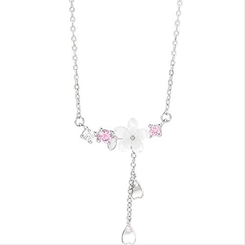 ZHUDJ Collar de Flor de Plata de Ley 925, Collar de Flores de Cerezo de Concha de Cristal para Mujer, joyería de Cadena