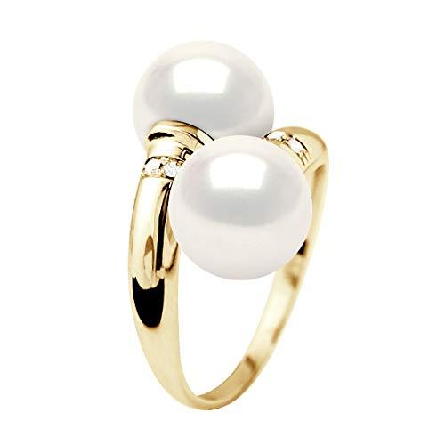 Pearls & Colors - Bague TOI et Moi - Diamant 0,040 Cts - Véritable Perle de Culture d'eau Douce Ronde 8-9 mm - Blanc Naturel - Qualité AAA+ - Or Jaune - Bijou Femme