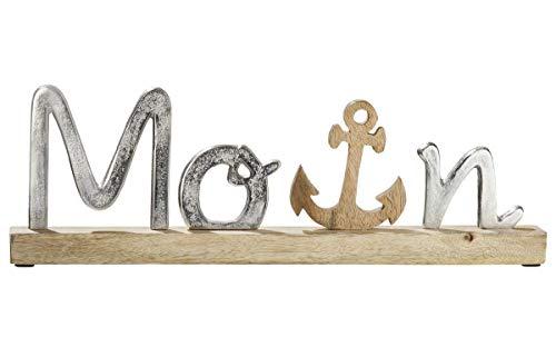 GILDE Schriftzug Moin auf Holzbase Schriftzug aus Aluminium, Sockel + Anker aus Mangoholz Länge 43,0 cm Breite 5,0 cm Höhe 14,0 cm 48811