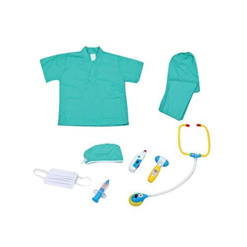 Toyvian 1 Satz Kind Arzt Cosplay Kostüm mit Kappe Maske Arzt Spielen Werkzeuge Set Mädchen Jungen Arzt Outfit Langen Ärmeln Mantel Pädagogisches Spielzeug für Rollenspiele (Grün)