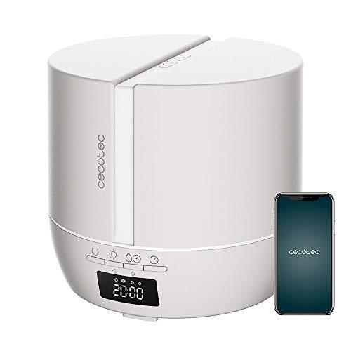 Cecotec Difusor de aromas PureAroma 550 Connected Sand. Capacidad 500ml, Pantalla LED, Altavoz, Control por bluetooth, App, Temporizador 12h, 3 Modos de funcionamiento, Cobertura 30m2