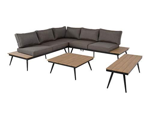 lifestyle4living Lounge Gartenmöbel Set aus Alu. Gartensofa inkl. Sitzkissen, Tisch, Bank mit Polywood (Teak-Optik), wetterfest. Ideal für Garten und Terrasse.