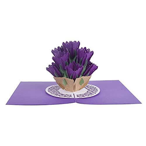 Innbox DEXIGC-006 - Tarjeta de felicitación 3D, diseño de tulipanes, color morado