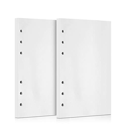 OMEYA 320 Seiten 2 Pack Nachfüllpapier Einlagen Papier 6 Loch 160 Blatt Binder gelocht Papier für Tagebuch Notizbuch Journals Malerei Filofax Personal Organizer 10,5 x 17 cm (blanko Papier)