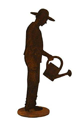 Kleine Garten Figur auf Platte - Material: Rost - Gärtner mit Gießkanne - Höhe 20cm - Hochwertige Gartendeko