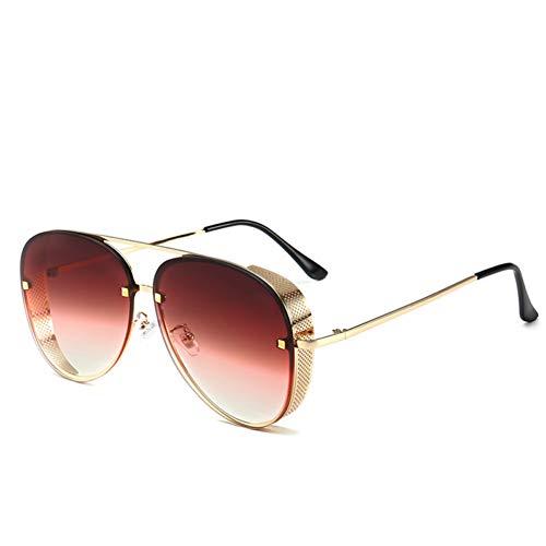 SXRAI Gafas de Sol de piloto de Moda Hombres Gafas de Sol con protección Lateral