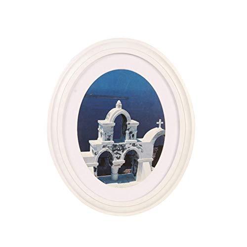 VOSAREA Marco de Fotos de Madera Ovalado de 7 Pulgadas con Marco de Foto para Montar en la Pared Marco de Fotos para decoración del hogar: envíe uñas y uñas (Blanco)