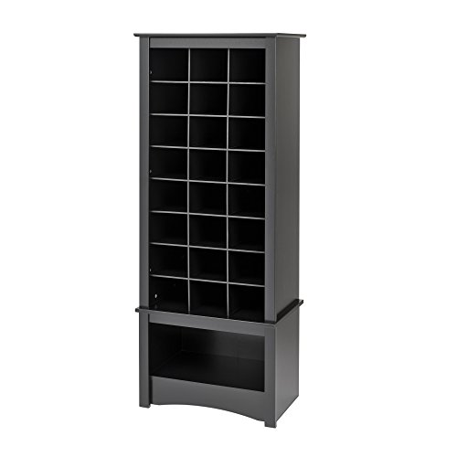 Prepac Tall Shoe Cubbie Cabinet, 24 Pair, Black