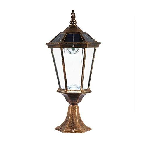 SMLZV Luces de pilares al aire libre, luz de poste al aire libre con adaptador de montaje del muelle, lámpara de postes vintage en acabado mate con sombra de cristal de martillo, aluminio aluminio a p