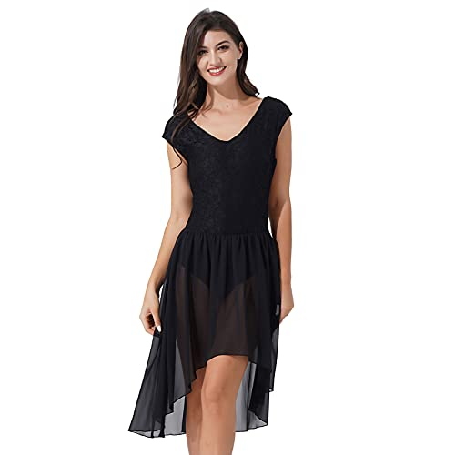 Oyolan Femme Robe Danse Classique Asymétrique sans Manches Dentelle Mousseline Costume Danse Contemporaine Dancewear S-XL Noir L