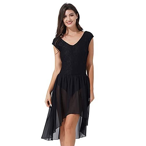 Oyolan Femme Robe Danse Classique Asymétrique sans Manches Dentelle Mousseline Costume Danse Contemporaine Dancewear S-XL Noir XL