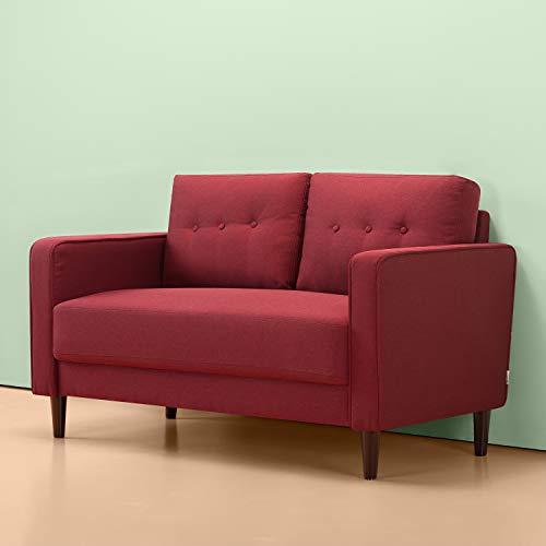 ZINUS Mikhail Loveseat Sofa, Estilo mediados de siglo, Montaje fácil sin herramientas, Cojines con mechón insertado y botones, Patas cónicas, Sofá en una caja, Rojo rubí
