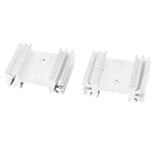 2 piezas de plata del tono del disipador de calor de aluminio de 34x25x12mm A-220 Transistores