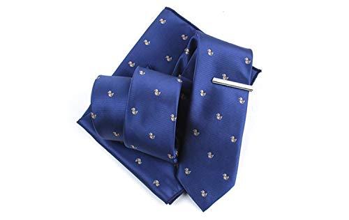 Huyizhi Conjunto de lazos de fiesta Los hombres de dibujos animados patos patrón Tie Set Casual citas corbata pañuelo Tie clip Set