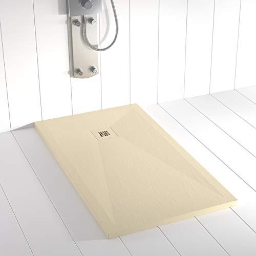 Shower Online Plato de ducha Resina PLES - 90x170 - Textura Pizarra - Antideslizante - Todas las medidas disponibles - Incluye Rejilla Color y Sifón - Crema RAL 7015