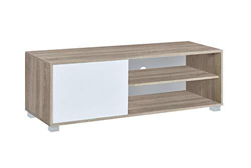 Myoshome - Mueble TV Salon Mesa para TV Color Roble y Blanco 120 x 40 x 41 cm Hades