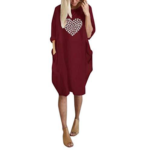 SMILEQ Vestido de Mujer Falda con Estampado de corazón de Moda de Verano Mini Vestido de Manga Larga con Cuello en O (L, Rojo)