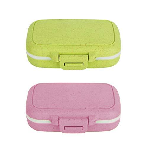 ITNP Pastillero Pastillero Conveniente para prevenir la humedad Pequeño Viaje Caja de Medicina Organizador de Pastillas de Plástico Impermeable con 6 Compartimentos (2pcs)