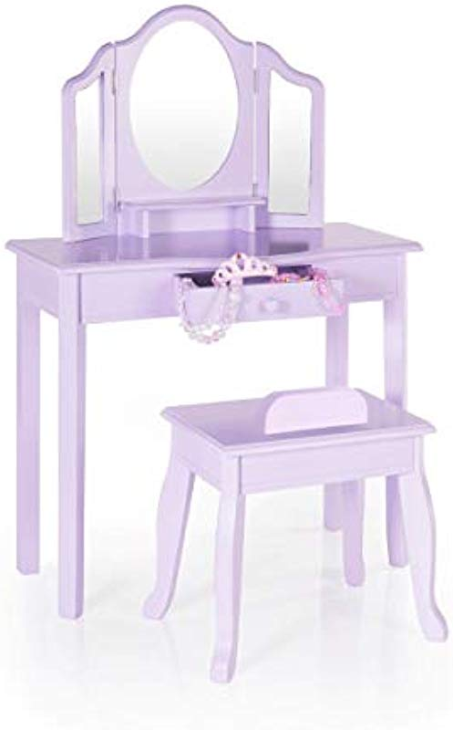 Guidecraft Vanity And Stool Lavender Children S Table And Chair Set With 3 Mirrors And Make Up Drawer Storage Kids Room Furniture