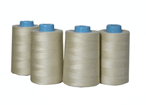 4 Pack of 6000 Yards(24000 Total) Serger Sewing Thread All Purpose Polyester Spools overlock Cone (4 x 6000 Yards Beige)