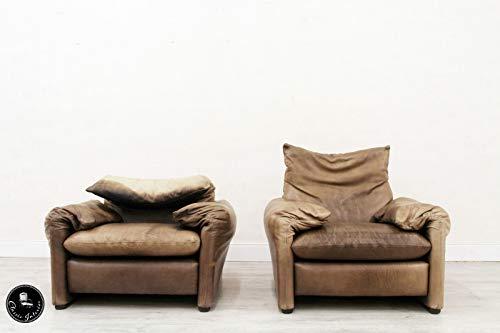 Classic Interior Cassina MARALUNGA 2 Sessel Designer Vintage Antik Ledersofa