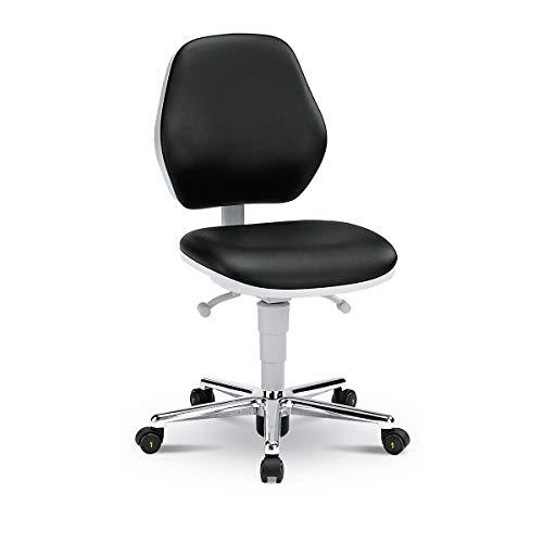 bimos Reinraum-Arbeitsstuhl - mit Rollen - Kunstlederbezug mit Permanentkontakt - Arbeitsdrehstuhl Arbeitsstuhl Drehstuhl ESD-Arbeitsstuhl Laborarbeitsdrehstuhl Laborarbeitsdrehstühle