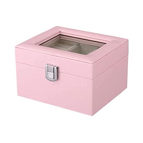 NuanXing Organizador de Caja de joyería Vitrina con Espejo Regalo para Mujeres niñas Caja de joyería Pendiente de Cuero Anillos Organizador Cajas de joyería (Color: Rosa)