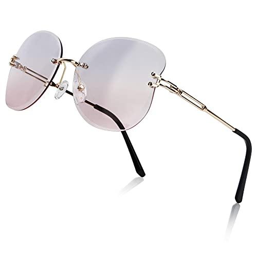 Gafas de sol sin montura de mariposa para mujer, gafas de ojo de gato de moda vintage, gafas de sol polarizadas de gran tamaño para niñas, gafas para adolescentes, montura metálica, purple_pink