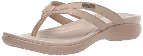 Crocs Women's Capri Basic Strappy Flip Flop, Tumbleweed/Cobblestone, 9 M US