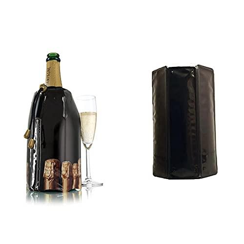 Vacu Vin 3885460-Enfriador, Diseño Tapones Enfriador Rápido para Botellas De Cava, Plástico Y Gel, Negro, Cm + Enfriador Activo De Vino, Color Negro, 1 Pack