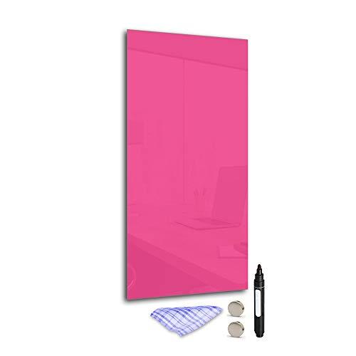 DekoGlas Magnettafel 'Pink' aus Glas 60x30cm, Memoboard inkl. Stift, Tuch & Magnet, Metall-Pinnwand für Küche & Büro